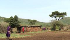 Traditional Masai house Stock Footage