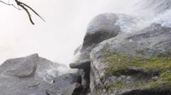 At the foot of waterfall at Canaima, Venezuela Stock Footage