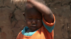 African child with flies Stock Footage