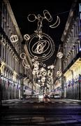 via roma in turin, italy, lit up by christmas lights - stock photo