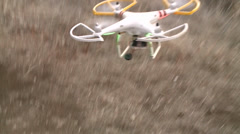 DRONE QUAD-COPTER REMOTE RADIO CONTROLLED FLYING MACHINE - stock footage