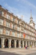 Central square of plaza mayor, in madrid, spain Stock Photos