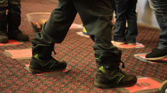 Kids feet playing a game Stock Footage