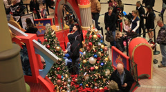 CHRISTMAS AT THE MALL PANNING LEFT TO RIGHT Stock Footage