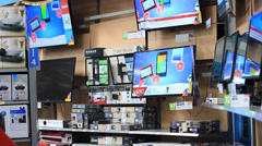 Flat screen televisions and electronics on display. Stock Footage