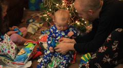 BABY BALL TOY CHRISTMAS MORNING - stock footage