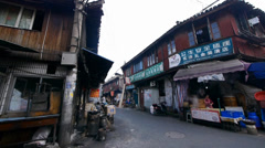 Typical Chinese old town street,shanghai traditional shopping marketplace. Stock Footage
