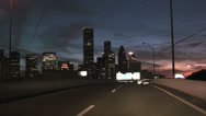 Stock Video Footage of driving toward Houston at night