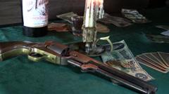 Pistol ,black power weapon Stock Footage