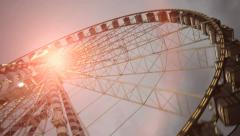 Ferries wheel ride. carnival. amusement park. activity fun Stock Footage