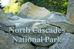 north cascades national park entrance rock sign - stock photo