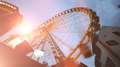 Amusement park. activity fun. big wheel. ferries wheel ride Stock Footage