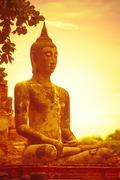 budha on sunset - stock photo