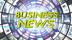 Business News Text in Monitors Tunnel, Loop Stock Footage
