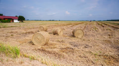 Tractor Making Hay/Straw Bales Time Lapse (4k) Stock Footage