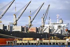 commercial cargo ship - stock photo