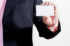 Showing business name card Stock Photos