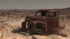 Pickup Truck Abandoned Desert Vintage Ghost Town Stock Footage