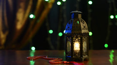 Ramadan lantern and rosary Stock Footage