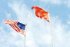 usa and china flag - stock photo