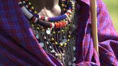 Masai bead necklace Stock Footage