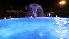 Fountain in pool with lighting Stock Footage