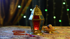 Ramadan lantern and dates - stock footage