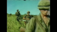 Vietnam War - Operation Piranha 1965 - Marines Crossing Vietnam 01 - stock footage