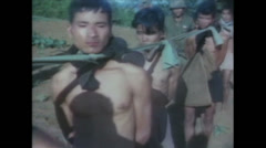 Vietnam War - Operation Piranha 1965 - VietCongs In POW camp 01 Stock Footage