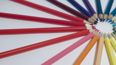 Colorful pensils ring turning Stock Footage