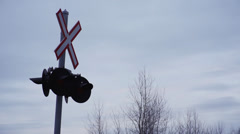 Railway Crossing Sign Stock Footage