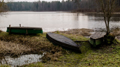 Old wooden Rowboat - stock footage