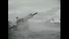 Vietnam War - US attack 02 - Artillery Stock Footage