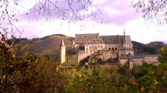 View of the medieval castle autumn overcast day. Stock Footage