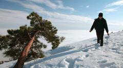 Teenager at ski resort Stock Footage