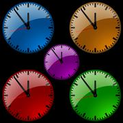 Colorful Dial Wall Clocks Stock Illustration