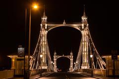 albert's bridge at night, london - stock photo