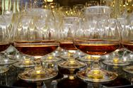 Stock Photo of glasses of brandy at the banquet