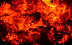 coals in the furnace - stock photo