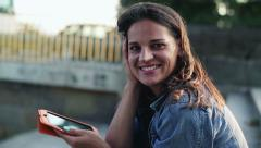 Young woman working on tablet Stock Footage