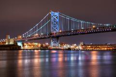 ben franklin bridge, philadelphia - stock photo
