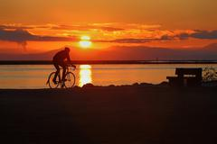 Sunset Cycle, Richmond, British Columbia - stock photo