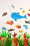plasticine marine life - stock photo