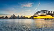 Stock Photo of dramatic panoramic sunset photo sydney harbor
