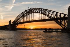 Sydney harbour bridge sunset Stock Photos