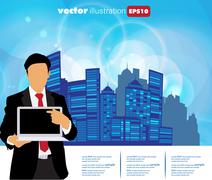 Stock Illustration of Young businessman with laptop computer. Vector