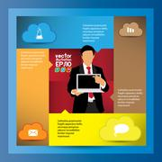 Stock Illustration of Cloud Computing concept background and world map