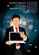 Young businessman with laptop computer. Vector - stock illustration