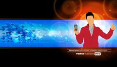Man using smartphone. Vector - stock illustration