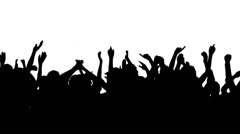 Crowd silhouettes. Concert. Pan. Close up. Stock Footage